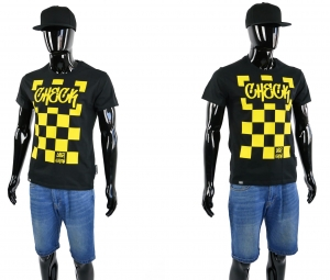 KOSZULKA MĘSKA T-SHIRT CLASSIC SLIM FIT CHECK BLACK YELLOW