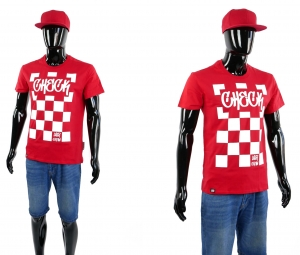 KOSZULKA MĘSKA T-SHIRT CLASSIC SLIM FIT CHECK RED WHITE