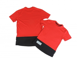 T-SHIRT UNISEKS HIP HOP STYLE UP DOWN RED BLACK