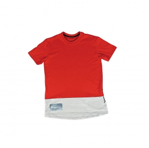 T-SHIRT UNISEKS HIP HOP STYLE UP DOWN RED MELANGE