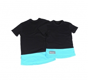 T-SHIRT UNISEKS HIP HOP STYLE UP DOWN BLACK  TURQUOISE