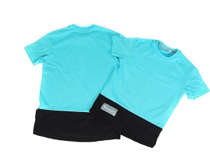 T-SHIRT UNISEKS HIP HOP STYLE UP DOWN TURQUOISE  BLACK